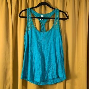 Teal Racerback Tank w Lace Accent